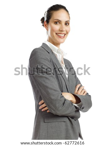 young business woman smiling and confident - stock photo