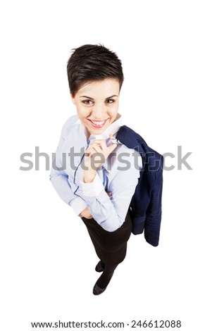 Young business woman smiling at camera. High angle view wide lens full body length portrait isolated over white background. - stock photo