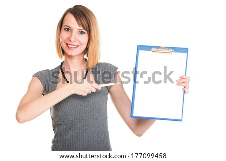 young business woman standing with her clipboard isolated on white background - stock photo