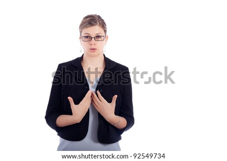 Young business woman taking a deep breathe to calm down, isolated on white background. - stock photo