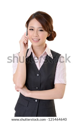 Young business woman talking on cellphone, closeup portrait on white background.