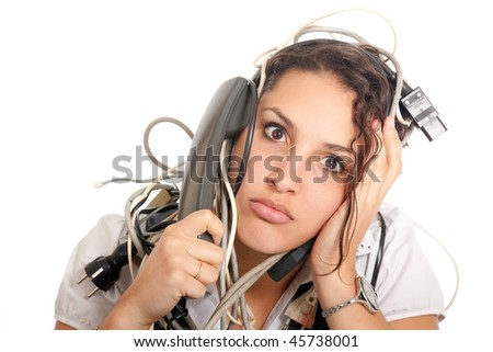young business woman tangled with electric cables talking on phone