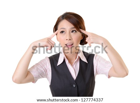 Young business woman think and get an idea, closeup portrait on white background.