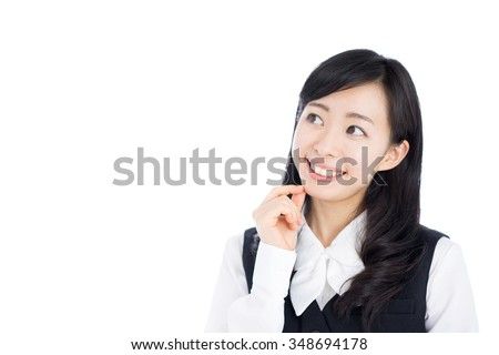 young business woman thinking isolated on white background - stock photo