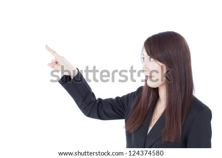Young business woman touching or operating, isolated on white background. - stock photo