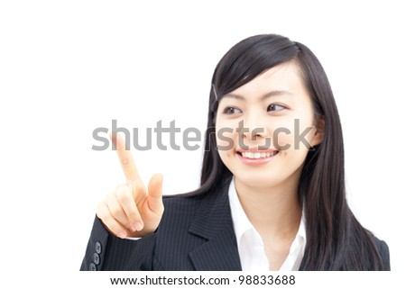 young business woman touching the screen with her finger, isolated on white background