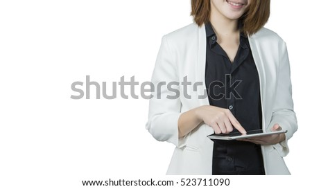 young business woman using digital tablet, isolated on white background