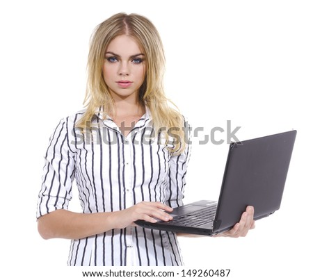 Young Business Woman Using Notebook