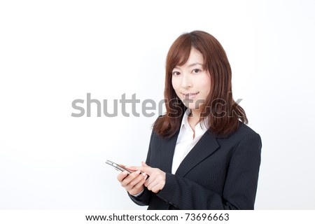 young business woman using smar tphone. - stock photo