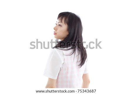 young business woman walking, isolated on white back ground - stock photo