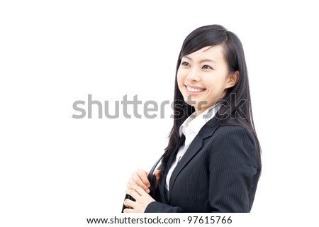 young business woman walking with bag, isolated on white background