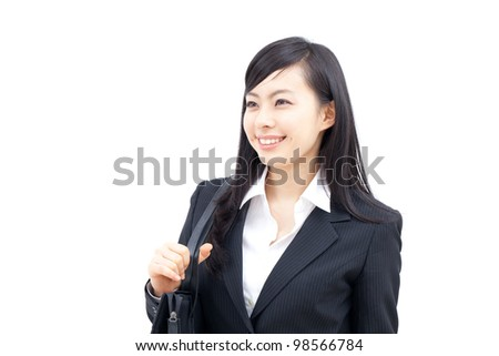 young business woman walking with bag, isolated on white background - stock photo