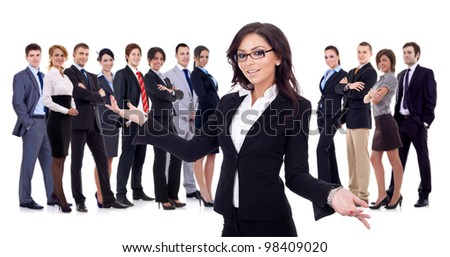 young business woman welcoming you to her successful happy business team