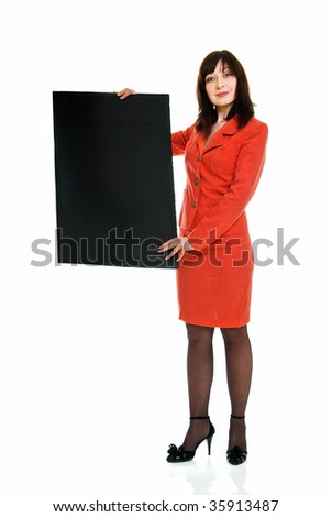 young business woman with black stand on white background