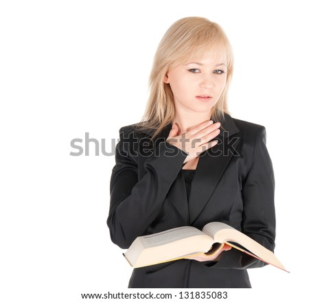 Young business woman with book over white background.