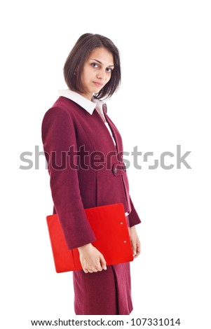 Young business woman with clipboard isolated on white background - stock photo