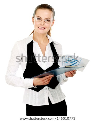 Young business woman with folder, isolated on white background