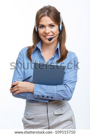 Young business woman with headset. Isolated portrait. - stock photo