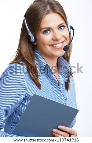 Young business woman with headset. Isolated portrait.