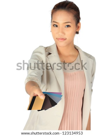 Young business Woman with her credit cards