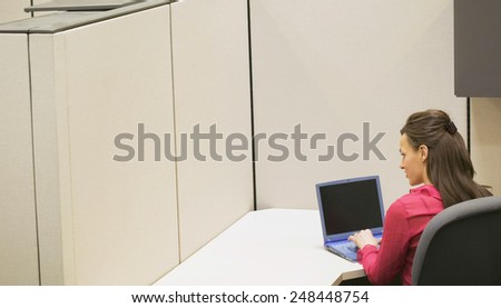 young business woman with laptop  - stock photo