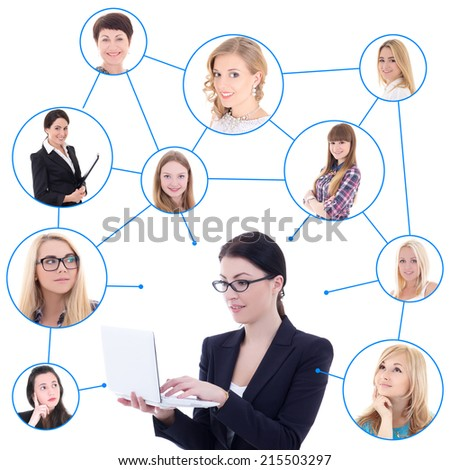 young business woman with laptop and her social network isolated on white background