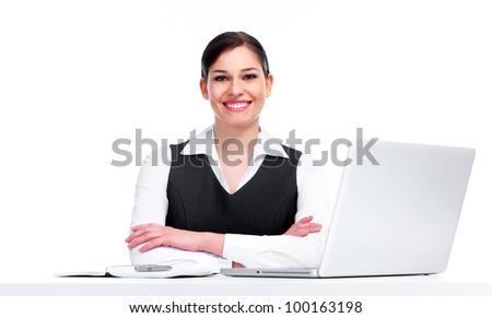 Young business woman with laptop computer. Isolated on white background.