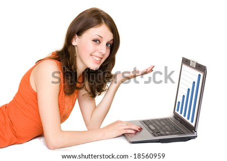Young business woman with laptop isolated on white
