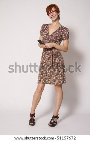 Young Business Woman with Mobile Phone - stock photo
