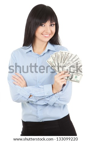 Young business woman with money