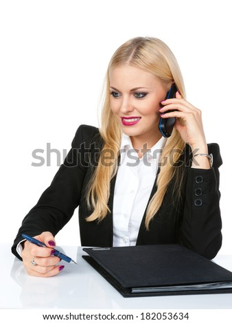 Young business woman with phone on a white background