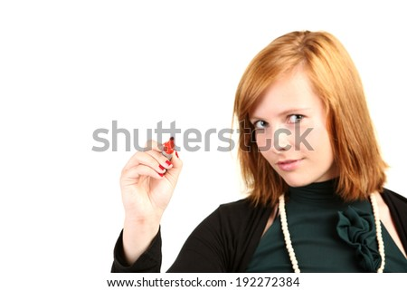 Young business woman with red pen ready for to overlay a chart or diagram