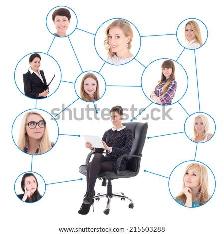 young business woman with tablet pc and her social network isolated on white background - stock photo