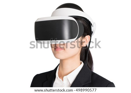 Young business woman with  virtual reality headset isolated on white background.