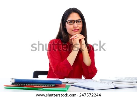 Young business woman working with computer isolated on white background. - stock photo