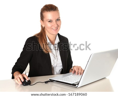 Young Business Woman working working happy with Computer isolated white background