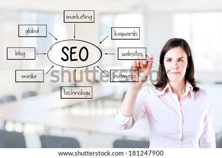 Young business woman writing a SEO schema on the whiteboard. Office background.