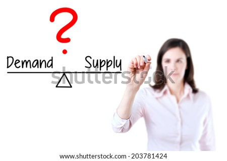 Young business woman writing demand and supply compare on balance bar. Isolated on white background. - stock photo