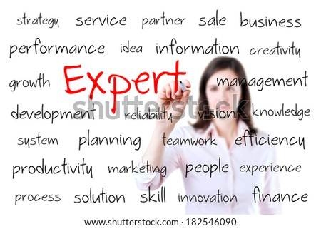 Young business woman writing expert concept. Isolated on white.  - stock photo