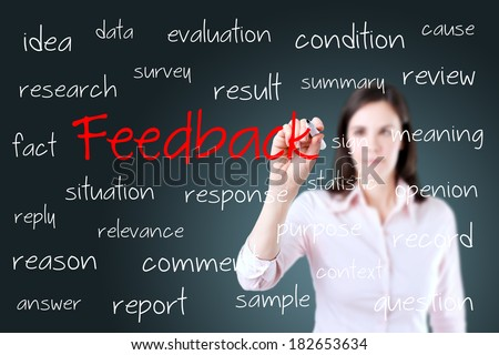 Young business woman writing feedback concept.  - stock photo