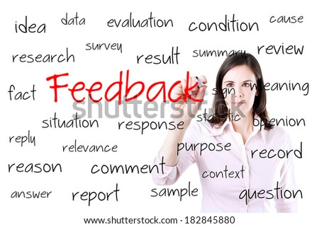 Young business woman writing feedback concept. Office background. - stock photo