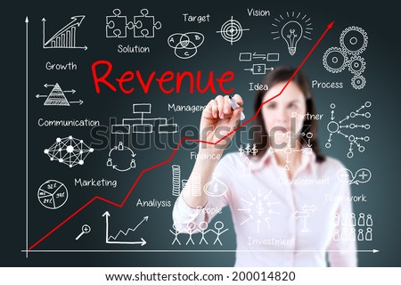 Young business woman writing increased revenue graph with process of vision - teamwork - plan - investment - management - research - development - strategy - marketing. Blue background. - stock photo