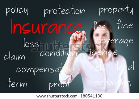 Young business woman writing insurance concept. - stock photo