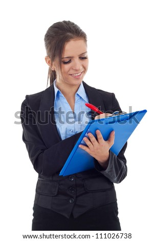 Young business woman writing on a clipboard, isolated on a white background. - stock photo