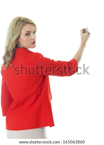 Young Business Woman Writing on a White Board - stock photo