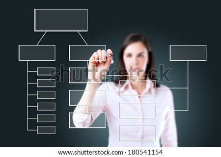 Young business woman writing process flowchart diagram on screen.  - stock photo