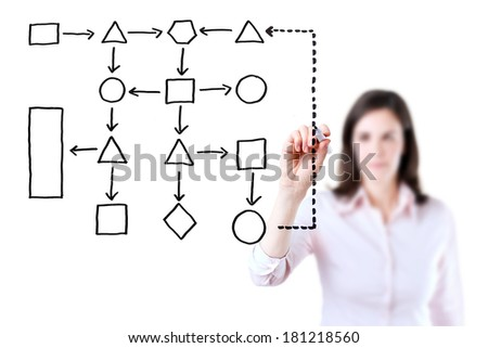 Young business woman writing process flowchart diagram on screen, white background.  - stock photo