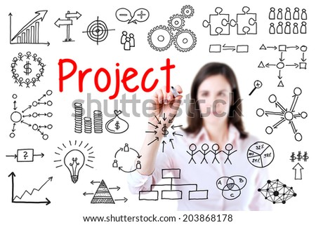 Young business woman writing project concept. Isolated on white background. - stock photo
