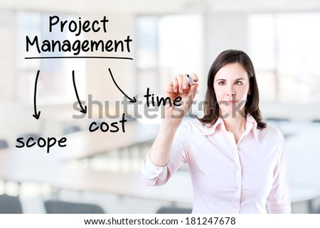 Young business woman writing project management concept. Office background. - stock photo