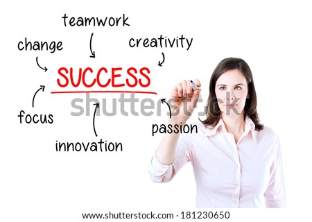 Young business woman writing success diagram on glass board with marker. Isolated on white.